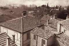 Italy. Tuscany region. Montepulciano. In Sepia toned. Retro styl Stock Photography