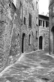 Italy. Tuscany region. Montepulciano town. In black and white to Royalty Free Stock Photography
