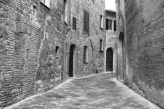 Italy. Tuscany region. Montepulciano town. In black and white to Stock Image