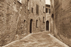 Italy. Tuscany region. Montepulciano town. In Sepia toned. Retro Royalty Free Stock Photography