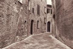 Italy. Tuscany region. Montepulciano town. In Sepia toned. Retro Stock Photography