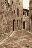 Italy. Tuscany region. Montepulciano town. In Sepia toned. Retro Royalty Free Stock Images