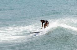 Italy Tuscany sea 18 July 2018 : Surfing on the north shore . Man at surf in italy . Italy Tuscany sea 18 July 2018 : Surfing on the north shore . Man at surf stock image