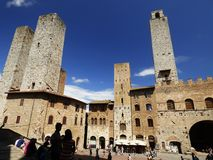 Italy, Tuscany, Siena, San Gimignano, view of the main square with towers Royalty Free Stock Photography