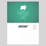 Italy, Tuscany vector postcard design with white sheep Royalty Free Stock Photo