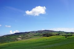 Italy Tuscany, Volterra, panoramic view of the city from the countryside royalty free stock photo