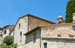 Architectures and religion in Assisi. Italy,Umbria,Assisi, the architectures of of the old country center Stock Image