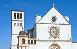 Architectures and religion in Assisi. Italy,Umbria,Assisi,the facade of the S.Francesco basilica Stock Photos