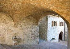 Architectures and religion in Assisi. Italy,Umbria,Assisi, medieval architectures in the country  center Stock Photos