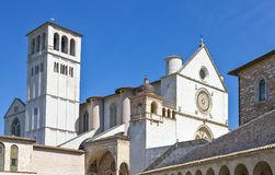 Architectures and religion in Assisi. Italy,Umbria,Assisi, upward view of the St.Francesco basilica facade Stock Image