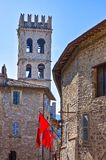 Architectures and religion in Assisi. Italy,Umbria,Assisi,view of the Del Popolo tower Royalty Free Stock Image