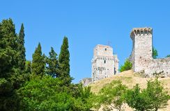 Architectures and religion in Assisi. Italy,Umbria,Assisi, view of the La Rocca cstle Royalty Free Stock Image