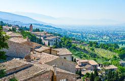 Architectures and religion in Assisi. Italy,Umbria,Assisi,view of the town and  the valley Royalty Free Stock Photos