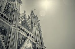 Italy,Umbria,Orvieto the Cathedral(Duomo) sephia Royalty Free Stock Photo