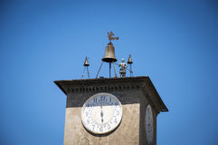 Italy,Umbria,Orvieto,the Tower,the Clock,the Bell. Italy,Umbria,Orvieto - the Clock on Tower with Bells and striking jack stock photos