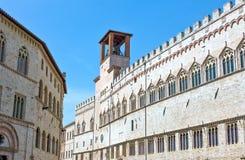 The ancient architectures of Perugia. Italy,Umbria,Perugia,the  Dei Priori palace Stock Image