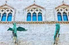 The ancient architectures of Perugia. Italy,Umbria,Perugia,the  Dei Priori palace, detail of the facade Stock Photos