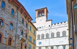 The ancient architectures of Perugia. Italy,Umbria,Perugia,the Dei Priori palace seen from Matteotti square Royalty Free Stock Image