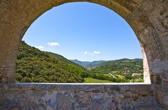 The ancient architectures of Spoleto. Italy,Umbria,Spoleto, the valley seen from the Delle Torri bridge Royalty Free Stock Images