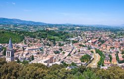 The ancient architectures of Spoleto. Italy,Umbria,Spoleto,view of the city from the Albornoziana fortress Royalty Free Stock Photos