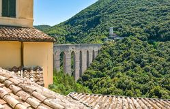 The ancient architectures of Spoleto. Italy,Umbria,Spoleto, view of the Delle Torri bridge Royalty Free Stock Images