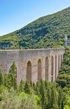 The ancient architectures of Spoleto. Italy,Umbria,Spoleto, view of the Delle Torri bridge Royalty Free Stock Photography