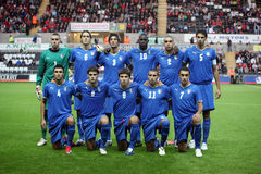 Italy Under 21. S squad posed for photographers during thier UEFA Under 21 Championship Qualifier match between Wales and Italy at The Liberty Stadium, Swansea royalty free stock photo