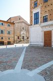 Urbino. Italy, Urbino, the Ducal Palace and the St Domenico church in the background Stock Images