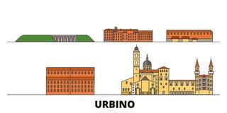 Italy, Urbino flat landmarks vector illustration. Italy, Urbino line city with famous travel sights, skyline, design. Italy, Urbino flat landmarks vector royalty free illustration