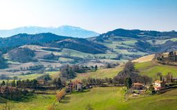 Urbino. Italy, Urbino, landscape of the valley seen from the country center Royalty Free Stock Image
