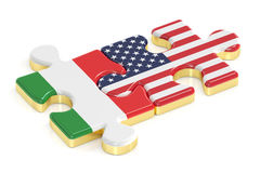 Italy and USA puzzles from flags. 3D rendering Royalty Free Stock Photography