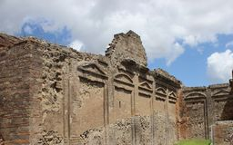 Ancient roman garden wall in Pompeii, Italy royalty free stock photography