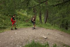 Italy, Valle d`Aosta, july 29 2017: two hikers walking ion a path on the mountains. Italy, Valle d`Aosta, july 29 2017: two hikers walking in a wood on the Stock Image