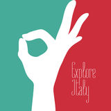 Italy vector illustration with Italian flag colors and excellent sign. Italy vector illustration with Italian flag colors and excellent hand sign. Visit Italy royalty free illustration