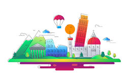 Italy - vector line travel illustration Royalty Free Stock Images