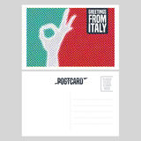 Italy vector postcard design with ok hand sign, gesture Stock Image