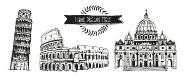 Italy vector set, hand drawn collection of italian landmarks Stock Photos