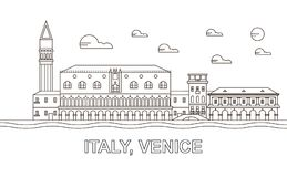 Italy, Venice architecture line skyline illustration. Linear vector cityscape with famous landmarks, city sights, design icons. Editable strokes. Editable vector illustration
