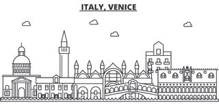 Italy, Venice architecture line skyline illustration. Linear vector cityscape with famous landmarks, city sights, design Royalty Free Stock Photos