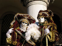 Italy, Venice Carnival: noble couple royalty free stock photos