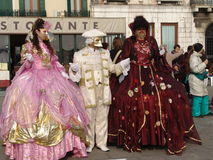 Italy. Venice. Carnival. People in masks Royalty Free Stock Photos