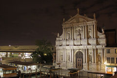Italy. Venice. Church degli Scalzi or Santa Maria di Nazareth at night Stock Image