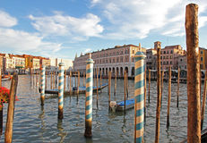 Italy. Venice city. Beautiful view of Grand canal with venetian Stock Photos
