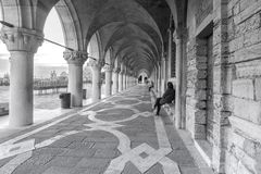 Italy, Venice. Colonnade of the Doge`s Palace in Venice royalty free stock images