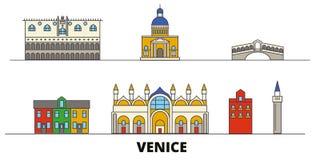 Italy, Venice flat landmarks vector illustration. Italy, Venice line city with famous travel sights, skyline, design. Italy, Venice flat landmarks vector stock illustration