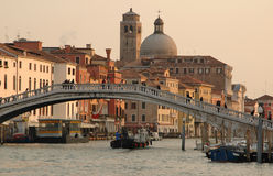 Italy. Venice. Gran Canal, Scalzi Bridge. Italy. Venice. Grand Canal, Scalzi Bridge and San Geremia church royalty free stock image