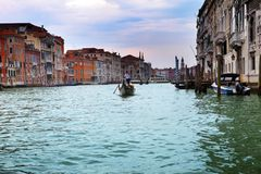 Italy. Venice. Grand Canal with gondola Stock Photography