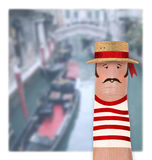 ITALY, VENICE - Italian Gondolier. In red royalty free stock images