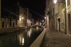 italy venice Kanaler på natten Arkivbilder