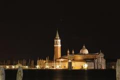 Italy. Venice. Night veiw at San Giorgio Maggiore Island Royalty Free Stock Photos